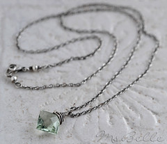 Green Amethyst Briolette Necklace in Oxidized Sterling - Diamond Shape Prasiolite Gemstone Solitaire Pendant Necklace (msbellee) Tags: necklace handmade jewelry diamond amethyst etsy sterlingsilver wirewrapped diamondshape oxidizedsterling pendantnecklace prasiolite msbelle greenamethyst artisancraftedjewelry amethystbriolette solitairependant brioletlte greenamethystgemstone