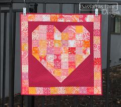 Free Heart Quilt Pattern (Sassafras Lane Designs) Tags: pink red orange art love coral wall gallery day pattern heart magenta free valentine hanging patchwork fabrics