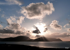 A Hoy And Graemsay Cloudscape (orquil) Tags: uk winter sunset silhouette clouds islands scotland orkney hills hoy february sunrays cloudscape scapes sunbeams scapaflow graemsay