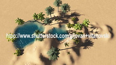 Oasis (www.pond5.com/artist/vitanovski) Tags: africa lake tree green nature water grass landscape bush sand desert nobody oasis palmtree copyspace computergraphic heathaze threedimensionalshape illustrationandpainting digitallygeneratedimage tropicalclimate travellocations
