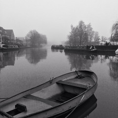 River Great Ouse, Ely - Explored! (David S Wilson) Tags: uk england blackandwhite water boats foggy earlymorning ely hdr cambridgeshire 2014 rivergreatouse iphone5s