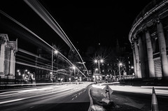 Dublin at night (sxdlxs) Tags: longexposure bridge ireland light sunset blackandwhite dublin color colour reflection bus cars colors car bar night clouds river temple lights colorful stream exposure colours liffey nighttime