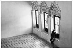 On her own (KARNATION) Tags: b blanco luz y negro n aljaferia pensativa ventanales lamanoamiga