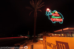 Rancho Super Car Wash (Pointless Pictures) Tags: longexposure elephant car canon eos 50mm highway neon palmsprings fisheye wash 7d 111 ranchomirage 8mm 1022mm bower palmdesert