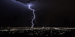 Lightning strike in Albuquerque - August 2012 (Mitch Tillison Photography) Tags: absolutelystunningscapes pentaxk5 sigma1020mm lightning storm monsoon weather strike bolt albuquerque city newmexico nighttime longexposure lowlight nature natural cityscape beautiful dramatic sharp clear mitchtillison photography photograph pentaxflickraward