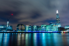 London skyline (Karl Erik Vasslag Photography) Tags: uk longexposure greatbritain nightphotography travel blue england urban building london thames skyline night river landscape photography phot