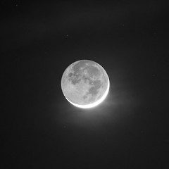Crescent Moon (haslo) Tags: bw moon night stars evening olympus tele omd em1 115in2015