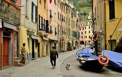 a quiet Sunday ... (miriam ulivi) Tags: street houses people dog boats italia liguria barche cinqueterre vernazza nikond3200 fivelands terrazzamenti miriamulivi