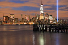 W T C Towers Of Light (pmarella) Tags: skyline clouds archives pmarella hudsonriver towersoflight onthewaterfront riverviewpkproductions icoverthewaterfront