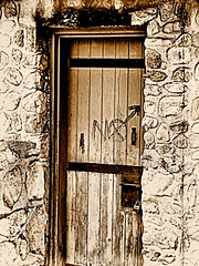 NO (Eyellgeteven) Tags: door wood old castle stone sepia word graffiti wooden ancient rust paint lock stones no painted rusty master rusted modified weathered stonewall tagging padlock locked oldfashioned rustyandcrusty masterlock woodendoor eyellgeteven