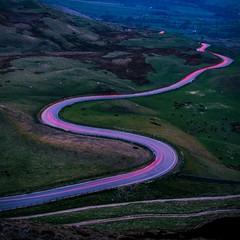Light show (Bashir Towers) Tags: road uk longexposure sunset car peakdistrict lighttrails nationaltrust edale mamtor castleton