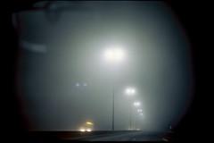(Dan Wallflower) Tags: urban color film fog night analog lights kodak olympusom1 filmphotography