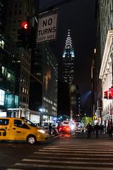 Chrysler Building (Caterix) Tags: street city usa newyork glass night skyscraper dark steel yellowcab illuminated nighttime northamerica chryslerbuilding eastcoast