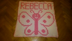 Butterfly blanket for Rebecca (dochol) Tags: baby chart cute wool butterfly handmade name crochet craft graph yarn homemade blanket afghan alphabet manta farfalla personalised croche papillion babyname crochethooks haakenwert haakwert
