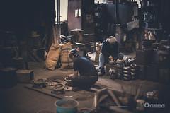 Visit to Iwachu (Morgan Kinkel) Tags: old blue people orange brown white black art japan japanese grey asia iron mask tea handmade working cyan craft indoor calm dirt workshop strong nippon morioka iwachu tetsubin 2016 ironkettle japaneseteaceremony canoneos6d artoverdrive morgankinkel