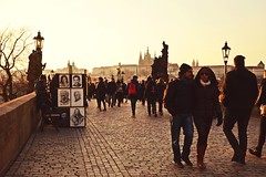 Charles' Bridge in Prague (catarinae) Tags: street travel bridge people republic czech prague paintings charles painter