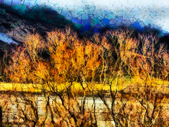 The Land of Abstract Hills (Steve Taylor (Photography)) Tags: blue newzealand orange cloud mountain abstract black tree art lines yellow digital landscape spring bush hill nz southisland southernalps