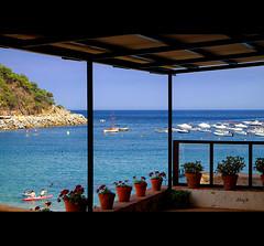 Terrace with views (EddyB) Tags: sea seascape boat mar europa europe fuji catalonia catalunya barcas fujinon costabrava terraza catalua llafranc eddyb xt1 xf1855f284mm