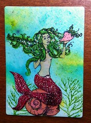 2. Sea Creature ATC - available (CraftyBev) Tags: sea atc stamping mermaid creature paints inking stickles brusho