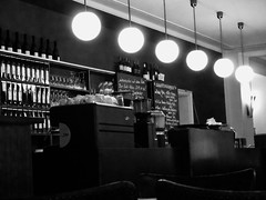 illuminated bar (timmytimtim75) Tags: light bw monochrome bar illuminated nik lamps peopleless silverefexpro