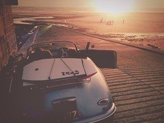 8 o'clock kick off (CY2010) Tags: sunset west classic beach silhouette football surf retro porsche 1957 slip speedster chesil 356 cy2010