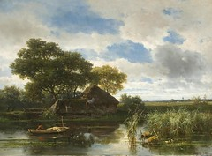 Willem Roelofs I - The Hermitage Museum -3949. Landscape with a Lake (1854) (lack of imagination) Tags: trees houses people water landscape boat blog hermitagemuseum 15002000 willemroelofsi