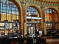 Cafe Coffee Day in Old building of Central railway station (Hlavni nadra) of Prague, Czech Republic. June 10, 2016 (Vadiroma) Tags: building hall cafe prague interior praha artnouveau czechrepublic oldbuilding jugendstil coffeeday 2016 centralrailwaystation esko hlavnynadrai