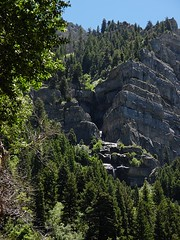 Steps That Skip And Jump (LeBaroDea (Harnessing my fears...)) Tags: waterfall upperfalls utah provocanyon wasatch lebarodea limestone tall leap pine conifer cascade layered fall falls stream spray cottonwood park utahcounty oldhighway cascademountain