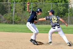OUT (MIKECNY) Tags: out tag highschool cohoes firstbase cobleskill