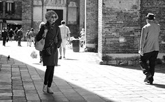 On the shaded side (Just Ard) Tags: street people blackandwhite bw woman blancoynegro monochrome person photography mono nikon noiretblanc zwartwit candid shades shade d750 unposed  biancoenero 24120mm schwarzundweis sunglassesvenice justard