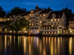 Reflections (802701) Tags: longexposure nightphotography reflections switzerland lowlight nightshot zurich olympus nightphoto limmat riverlimmat omdem5