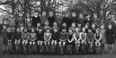 Class Photo (theirhistory) Tags: uk school england boys girl playground shirt bench photo shoes dress tie class jacket jumper form wellies pupils wellingtons