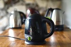 black electric kettle on table (yourbestdigs) Tags: black electric tea kettle