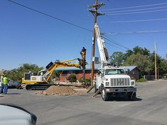 New Pole 6/30/2016 (THE RANGE PRODUCTIONS) Tags: newmexico truck power heavyequipment southwestus drill smalltownsouthwest sierracountynm truthorconesquencesnm