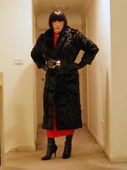 Red Again (5) (Furre Ausse) Tags: red black leather vintage fur belt long dress boots coat wide full gloves mink length