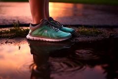 Day Two Hundred Fifty Three (fotoJared) Tags: sunset storm reflection rain june puddle nikon shoes walk champion 365 365project fotojared
