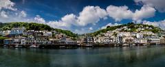 Looe Harbour, Cornwall. Panoramic. (Darren Flinders) Tags: summer england panorama clouds reflections river coast seaside cornwall harbour bluesky panoramic southcoast cornish looe cornishsummer