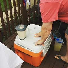 It's a cooler with a built in blender!!! Has a Bluetooth speaker, too! And, you can charge your devices!!!