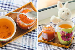 Grapefruit jam (ddanilejko) Tags: summer food orange white cute rabbit bunny cup kitchen daylight cozy tea cook towel health grapefruit taste citrus plaid homecooked jam cosi useful teaspoon vitamin