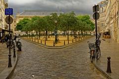 Paris / Place Dauphine (Pantchoa) Tags: paris france place placedauphine palaisdejustice square arbres pavs photoderue ville urbain paysage nikon d7100 24mmf18g vlos motos rverbtre