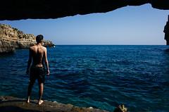 Polignano a Mare (cranjam) Tags: sea portrait italy cliff me luca rocks italia mare rocce ritratto ricoh puglia scogliera apulia polignanoamare ricohgrii