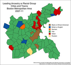 Leading ancestry or racial group, Boston metropolitan area, 2007-11 (Blake Gumprecht) Tags: urban boston race metro map maps cities area ethnic towns metropolitan ancestry origin groups ethnicity metropolitanareaplanningcommission countysubdvisions