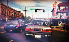 Hawthorne Blvd (Stacy Ann Young) Tags: street art cars oregon portland downtown boulevard prints pdx blvd bumperstickers govegan hawthornedistrict oldcivic stacyannyoung