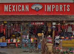 Wonderful Buncha Bargains (MPnormaleye) Tags: arizona urban southwest west america 35mm shopping pepper junk colorful tourist souvenir 1950s blanket utata western shops pottery peppers scottsdale stores rugs