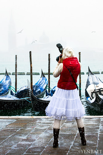 Venice - Photographer in Snowy San Marco