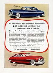 1949 Lincoln and Lincoln Cosmopolitan Ad (Argentina) (aldenjewell) Tags: argentina sport sedan town cosmopolitan ad lincoln 1949