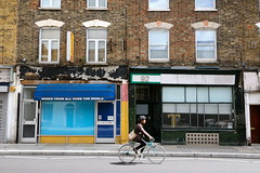 T (SReed99342) Tags: uk england london bicycle t shops storefronts stores greenlanes shopfronts