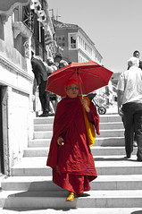 monk (Coedy453) Tags: venice red blackandwhite holiday color colour sunglasses umbrella nikon robe buddhist steps monk hintofcolor d300s