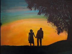 Aging Love (kquinn7892) Tags: old sunset woman man color tree painting paint acrylic