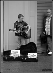 Busker boy (* RICHARD M (Over 6 million views)) Tags: street monochrome liverpool mono guitar streetperformers candid performance entertainment buskers streetperformer entertainer busker candids performers performer busking guitarist streetentertainer merseyside streetentertainers entertainers jamiewooding